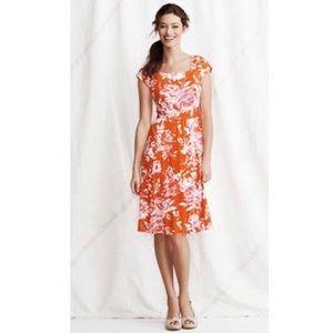 LEUC LANDS' END Orange Floral Dress